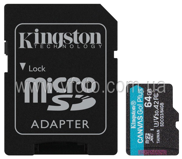 Карта памяти Kingston microSDXC 64GB Canvas Go+ U3 V30 (SDCG3/64GB) + Адаптер (6552769)