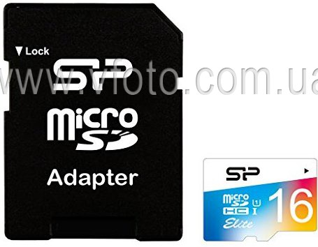 Карта памяти Silicon Power microSDHC 16 GB Cl 10 UHS-I Elite COLOR +ad (6240003)